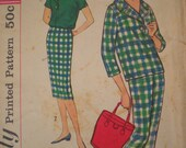 Now on Sale, 1958 Simplicity Blouse, Cigar Pants, and Pencil Skirt Sewing Pattern 2698, Size 12, Bust 32