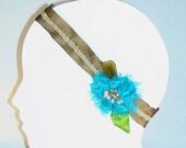 HOLIDAY GIFT SALE!  Silk Elastic Headband Hair Fascinator TaupeTurquoise Lime Silk Flower Beads Leaves Handmade Christmas Gift