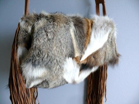 Leather Fringe Bag, Coyote Fur, Vintage