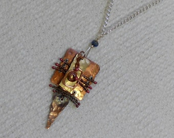 E220 OOAK Mixed Metals Necklace Wire Wrapped, Annealed and Forged Copper and Brass