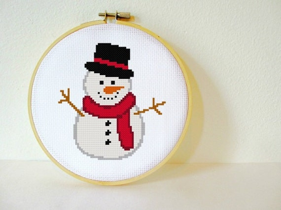 Counted Cross stitch Pattern PDF. Instant download. Snowman. Includes easy beginner instructions.