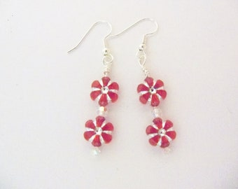 Handmade Earrings Red and Silver Christmas Holiday Wedding Gift for Her Idea