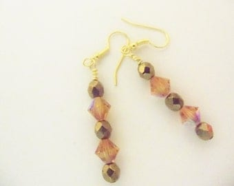 Handmade Earrings Dangle Dark Gold Beads Amber Swarovski Crystals Holiday Special Occasion Gift Idea