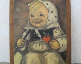 50% OFF SALE - vintage Hummel wooden wall plaque . happy girl with heart