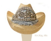Reserved. Blue Jean Crystal and Rhinestone Western Designer Cowgirl Cowboy Hat