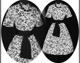 Vintage 1950s Dress . Novelty Print Garden Party Couture Black White Femme Fatale Mad Men Pinup Rockabilly Cupcake Bombshell Full Circle