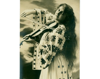Antique Photography | Long Hair Woman playing Violin | Traditional Costume