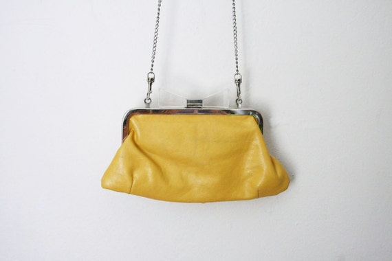 Vtg 50's Yellow Clutch with Clear Bow on Metal Chain