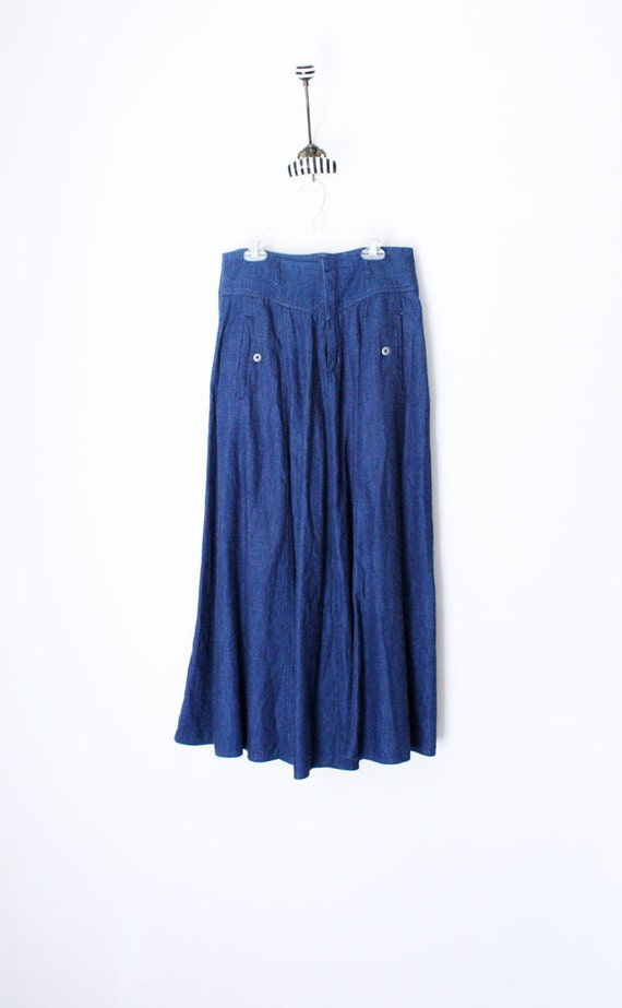 Vtg 80's High Waist Denim Maxi Skirt