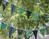 Blue/Green/Turquise Banner Large Double Sided Flags, 9 Foot Long Bunting