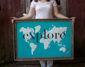 explore Giant Modern World Map Print Poster - 24x36 - ocean blue