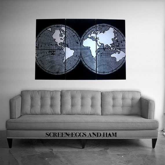 Silver Old World Map Panel Set
