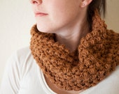 Women's Cowl Scarf - SALE 50% OFF - Chunky Cowl Scarves - Toffee Cowl Scarf
