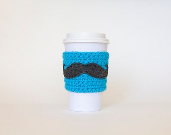 Neon Blue Mustache Coffee Sleeve - Reusable Electric Blue Mustache Coffee Sleeve