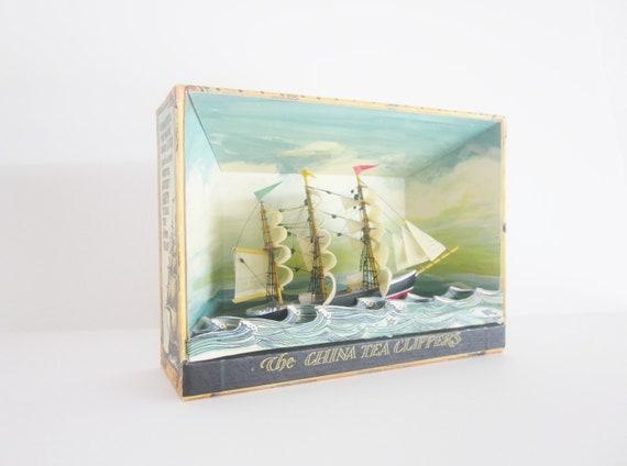 Vintage 3D Clipper Ship Boat Model Book Rope Sailors Nautical Beach Decor