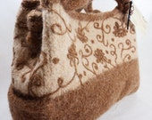 Felted wool fiber art bag in Caramel and Champagne  with needle felt floral motifs