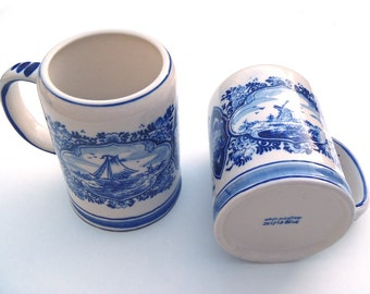 Vintage Delfts Blue White Earthenware Small Beer Stein Mugs w/ Blue Transferware and Hand Painted Blue Highlights Made in Holland Set of Two