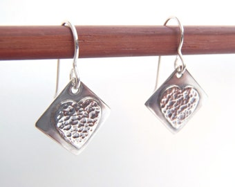 Sterling Silver Heart Earrings Handcrafted Heart Design Pierced Ear Wires Original New Handmade Jewelry - Light and Lively