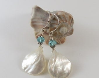 Shell Teardrop Earrings with Crystal Rondels