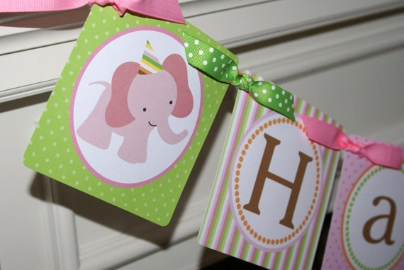 Sweet Safari Pink, Baby Animals, Sweet at One Happy Birthday Banner by The Party Paper Fairy