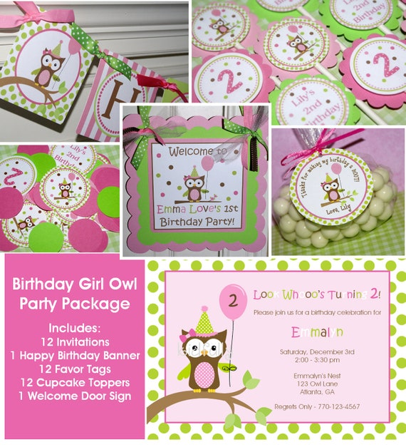 Birthday Girl Owl Party Package - Invitations, banner, cupcake toppers, favor tags, confetti & door sign by The Party Paper Fairy (BGOW-1)