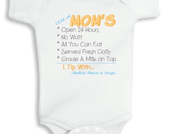 I Eat at Moms personalized baby bodysuit