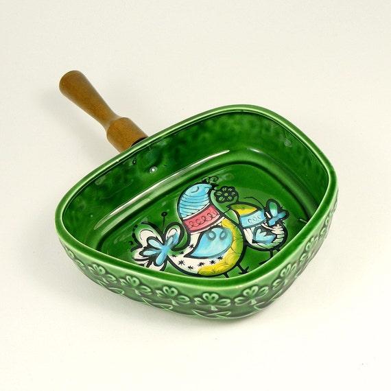 Vintage 60s Mid Century Modern Green Ceramic Mod Bird Skillet Pan with Teak Handle