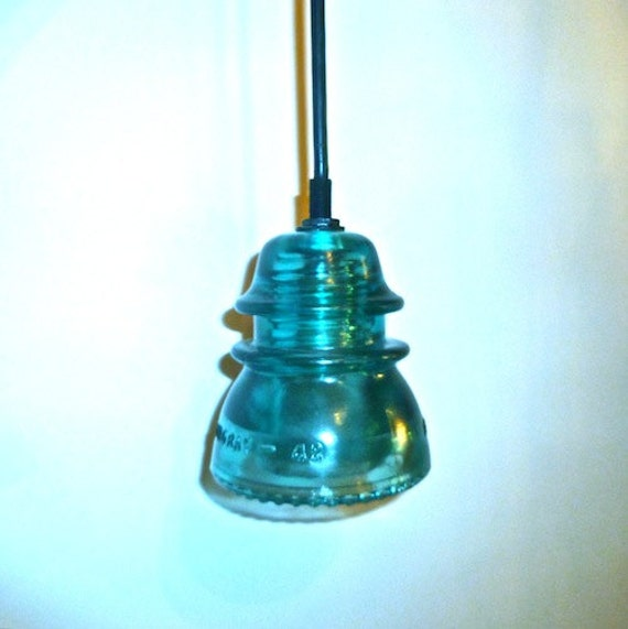 One 19th century antique blue insulator by divinediscoveries for Antique insulator pendant lights