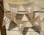 MR. & MRS. Chair burlap banner set, in white, lowercase lettering. bunting, chair markers.