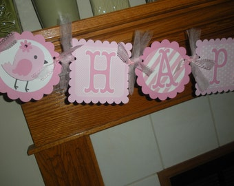Birdie Pink Happy Birthday Banner, Pink Birdie Banner, 1st Birthday Banner,  Matching Tissue Pom Poms Are Available