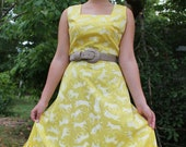 Quirky 50's yellow sundress with donkeys all over size small