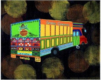 India, indian art, india print, indian truck, truck, india painting, HORN OK PLEASE  - Indian Kitsch Art - India Inspired Exotic Art Print