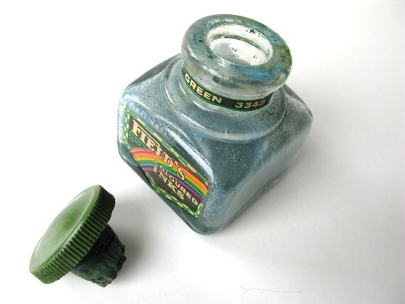 Vintage Ink Bottle Field's Ink Green Rainbow Range Made in England