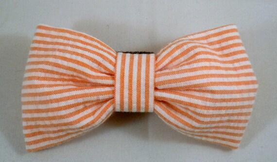 Dog Flower or Bow Tie - Orange Seersucker