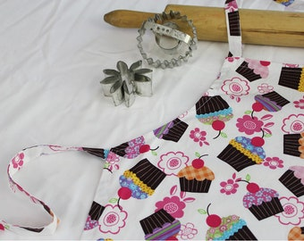 Cupcakes and Cherries on White Child Apron