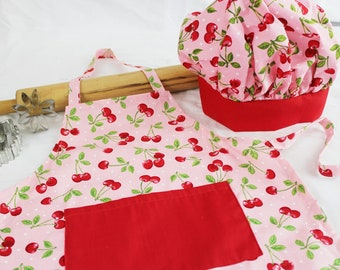 Retro Cherry Child Apron and Adjustable Chef Hat with Red Band