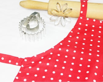 Red and White Polka Dot Child Apron