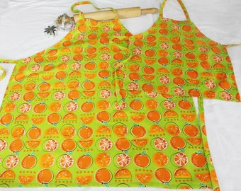 Oranges on Green Mother Daughter Aprons