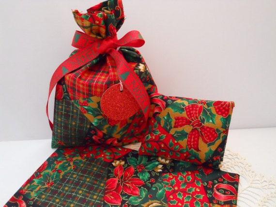 Fabric Gift Bags - Christmas - Matching Lavender/Cedar Sachets - Handmade