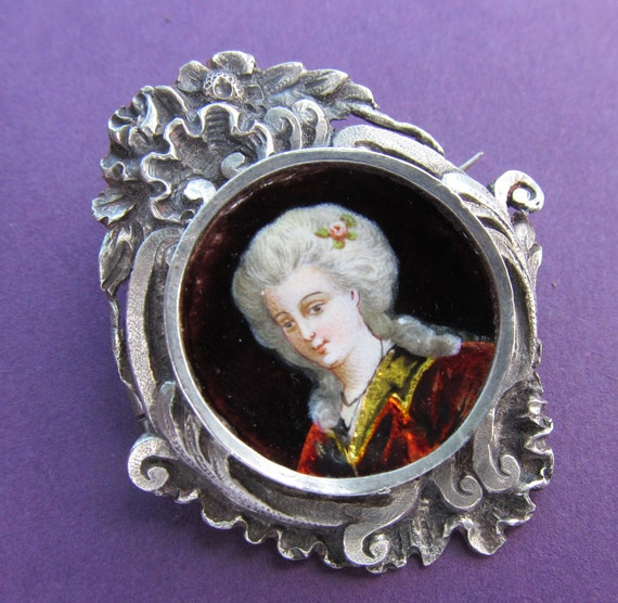 Marie Antoinette Sterling Silver And Enamel Brooch, Antique French Limoges Pin