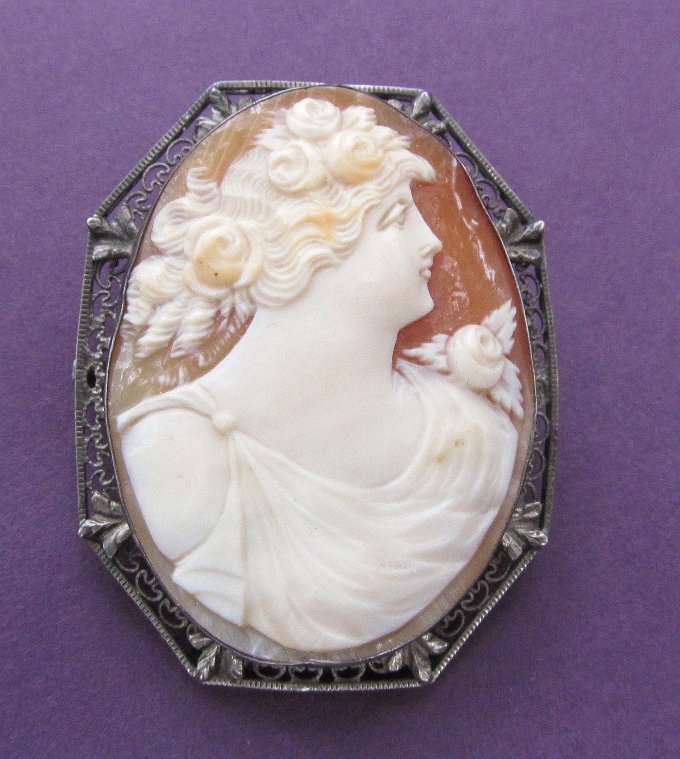 antique cameo brooch sterling silver hand carved by