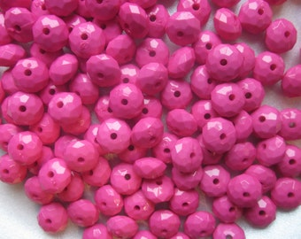 Fuschia Faceted Acrylic Beads 11mm 20 Beads