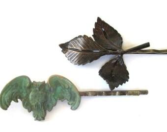Owl Hairpin Hair Accessories Clips Verdigris Green Brown Bobby Pins Hairpins