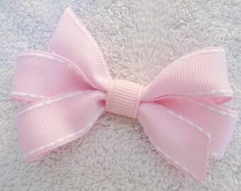 "2.5"" Light Pink and White Stitch Mini Pinwheel Bow"