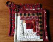 Log Cabin insulated pot holders hot pads casserole mats, set of two