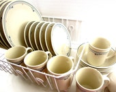 Vintage Corelle Livingware Country Violets COMPLETE Beige Service for Six 6 with Suprema Mugs Teal Blue Orange