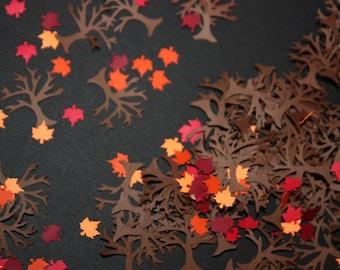 150 Tree and Maple Leaves Confetti / Autumn