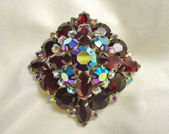 A Real Show Stopper! Stunning Ruby Red and Aurora Borealis Julianna Style Rhinestone Brooch - On Sale - Treasury Item