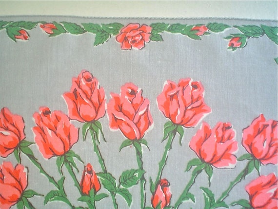 Grey Hankie with Long Stemmed Pink Roses Vintage Handkerchief