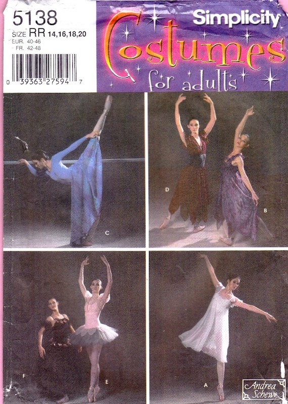 Simplicity 5138  Andrea Schewe Ballet Tutu Neo Lyrical Costumes Sewing Pattern Sz 14 to 20